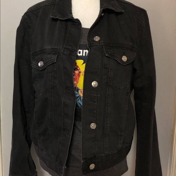 H M Jackets Coats Hm Black Denim Jacket Poshmark